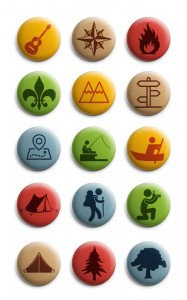 Colourful pictogram badge