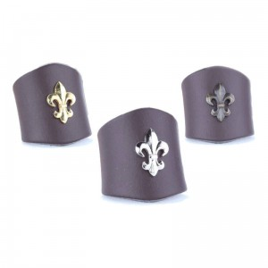 Small brown woggle with fleur-de-lis