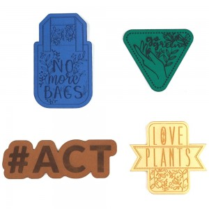 Vegan leather badges - set of 4 pcs - #ACT | No More Bags | Love Plants | Go Green